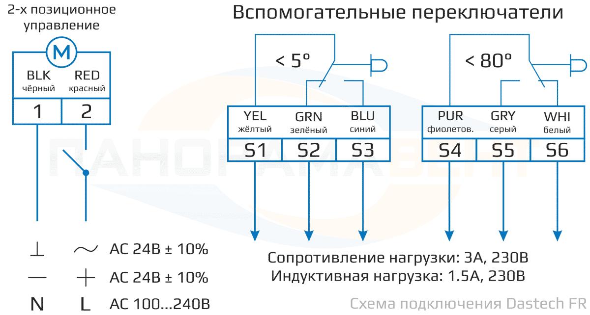Схема подключения электропривода Dastech FR-05N24S 24В с возвратной пружиной