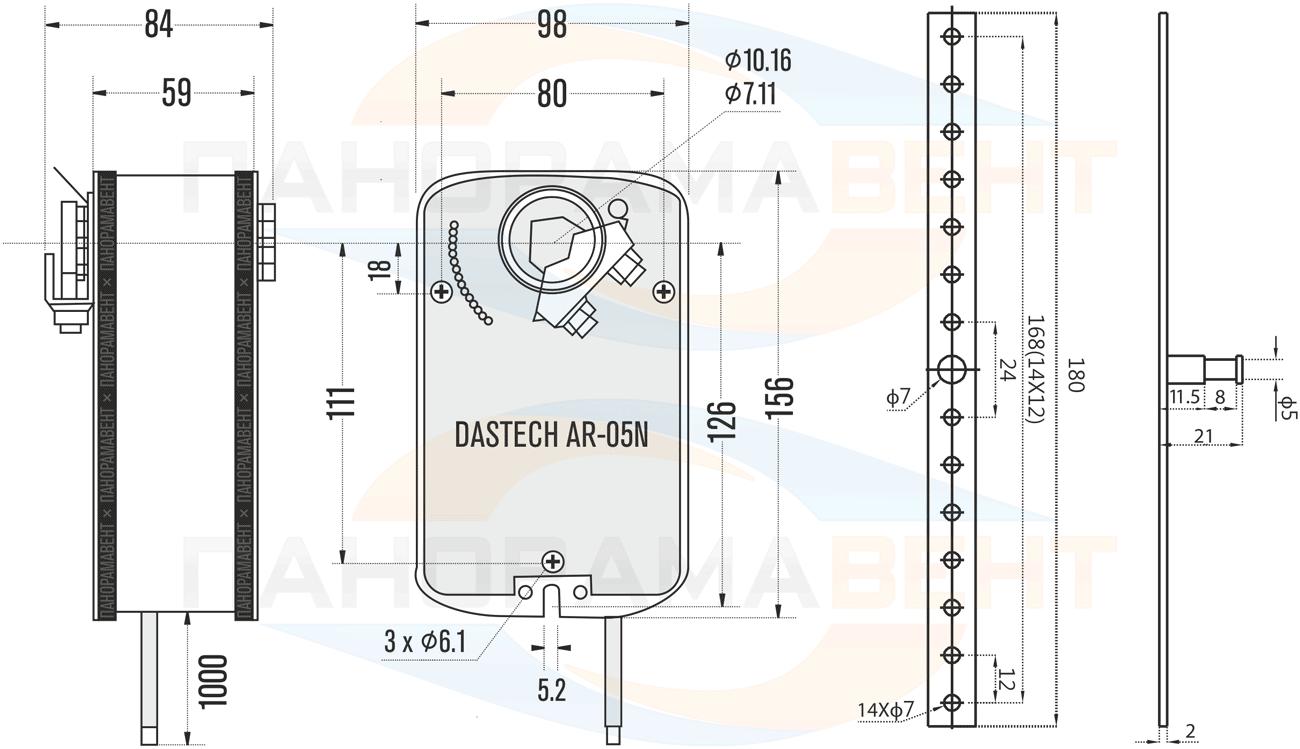 Габаритно-присоединительные размеры электропривода Nanotek LF 230 B 5Нм/230В