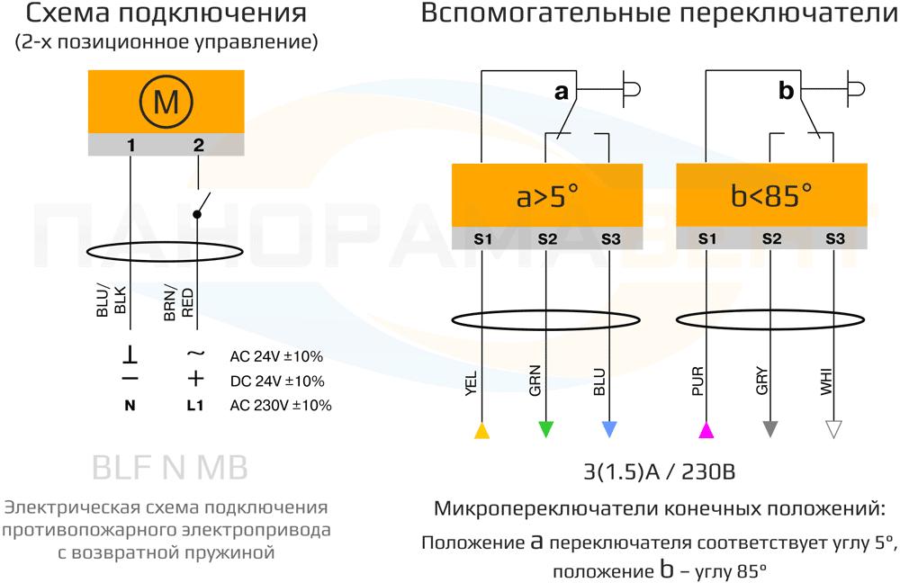 Схема подключения электропривода BLF24 N2 MB 5Нм/24В