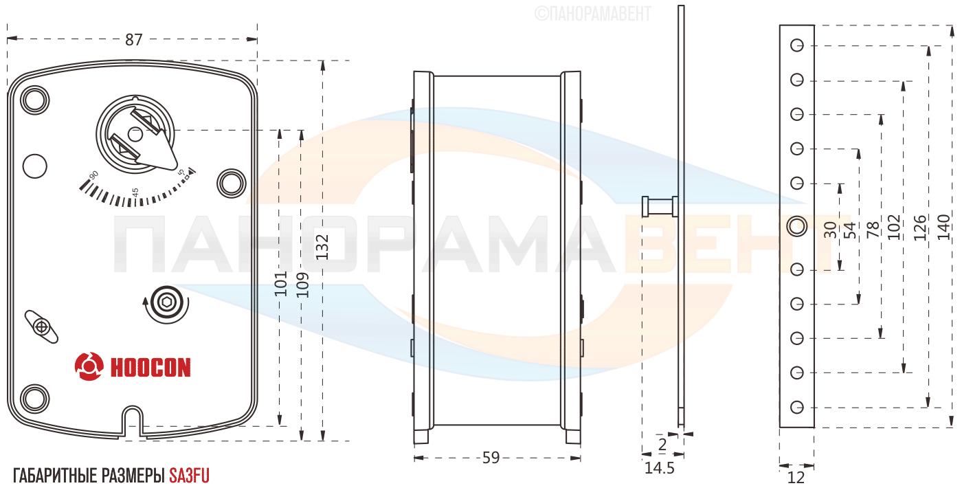 Габаритные размеры противопожарного привода Hoocon SA3FU230-DS с возвратной пружиной