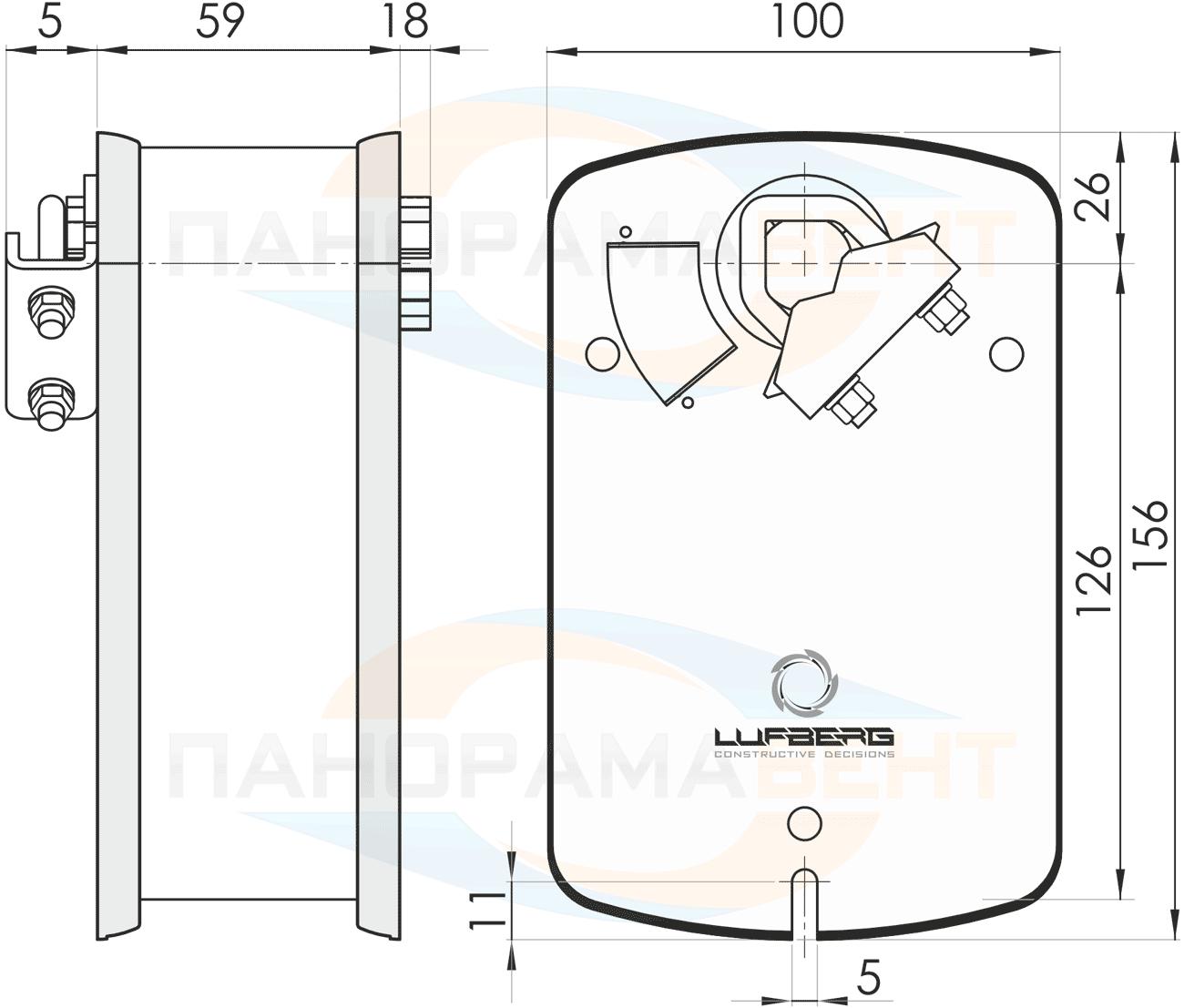 Габаритно-присоединительные размеры электропривода Lufberg DA05S220 5Нм/230В