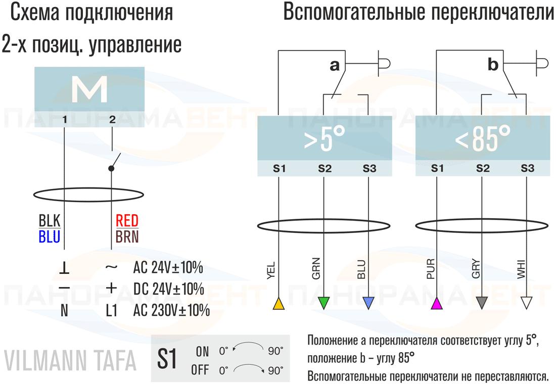 Схема подключения электропривода Vilmann TAFA2-05S 230В с возвратной пружиной