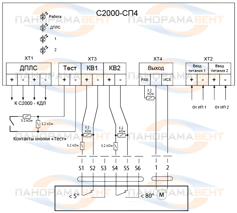 Внешняя схема соединения БСП С2000-СП4