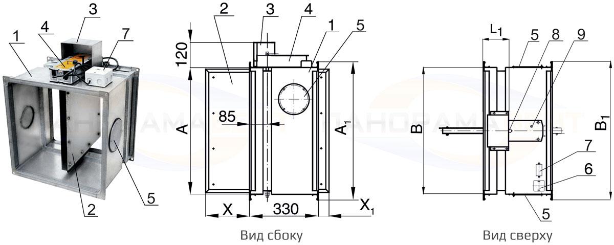 Конструкция противопожарного клапана КЛОП-1 НО 90 с приводом Belimo