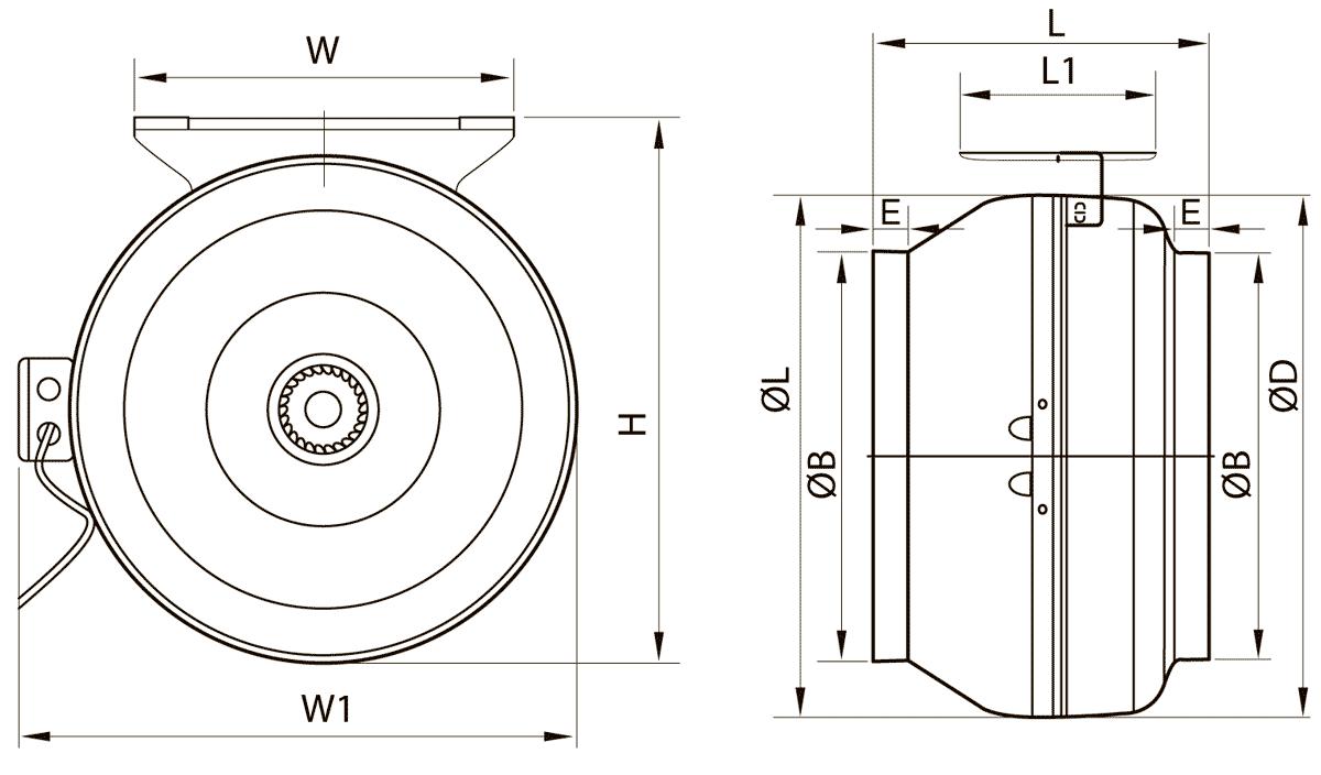 Габаритно-присоединительные размеры канального вентилятора ВК-200