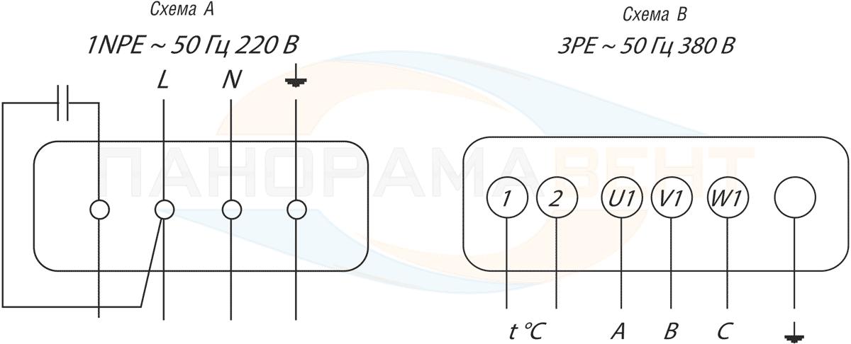 Схема подключения круглого канального вентилятора ВК-200 на 220В