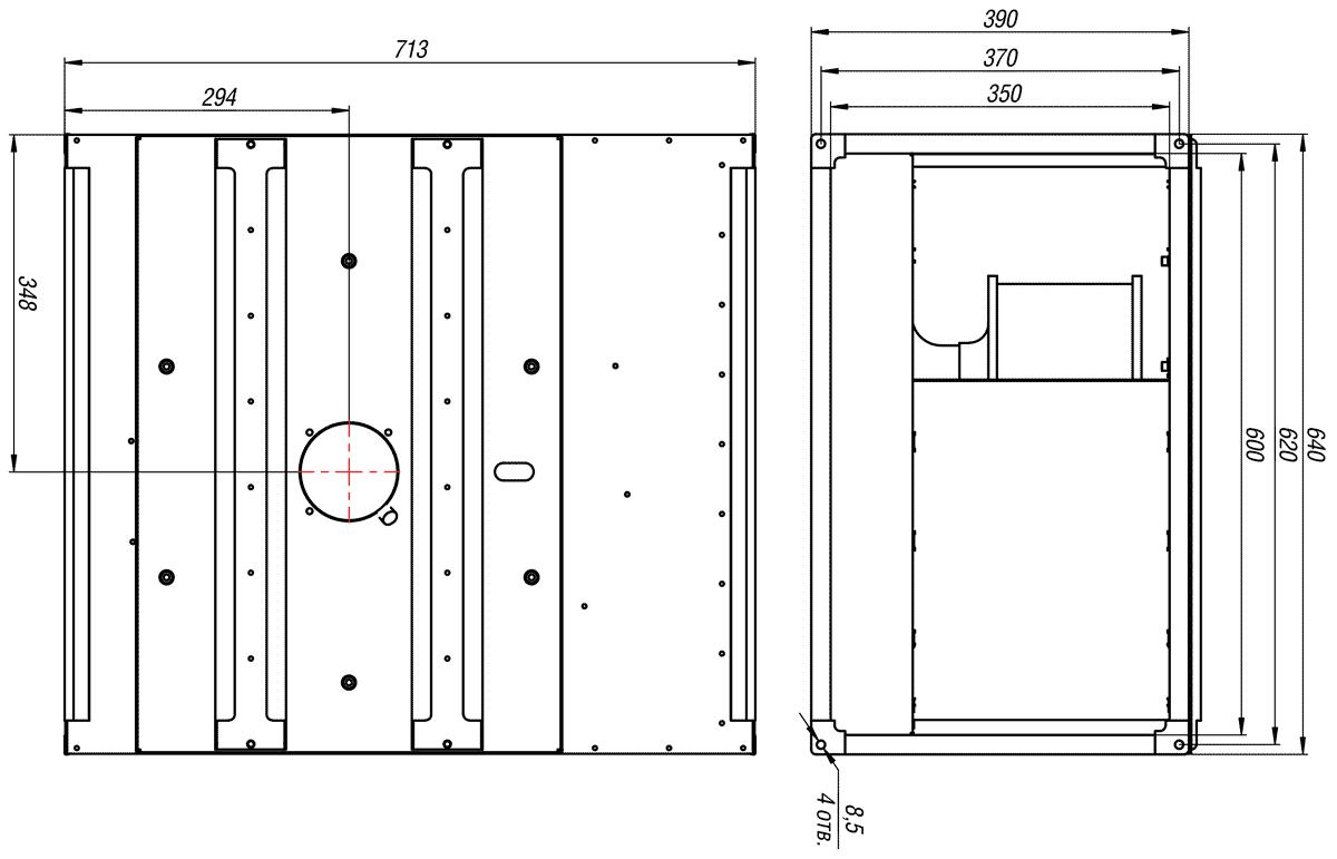Габаритно-присоединительные размеры канального вентилятора ВКП-Б 60-35-4E 220V