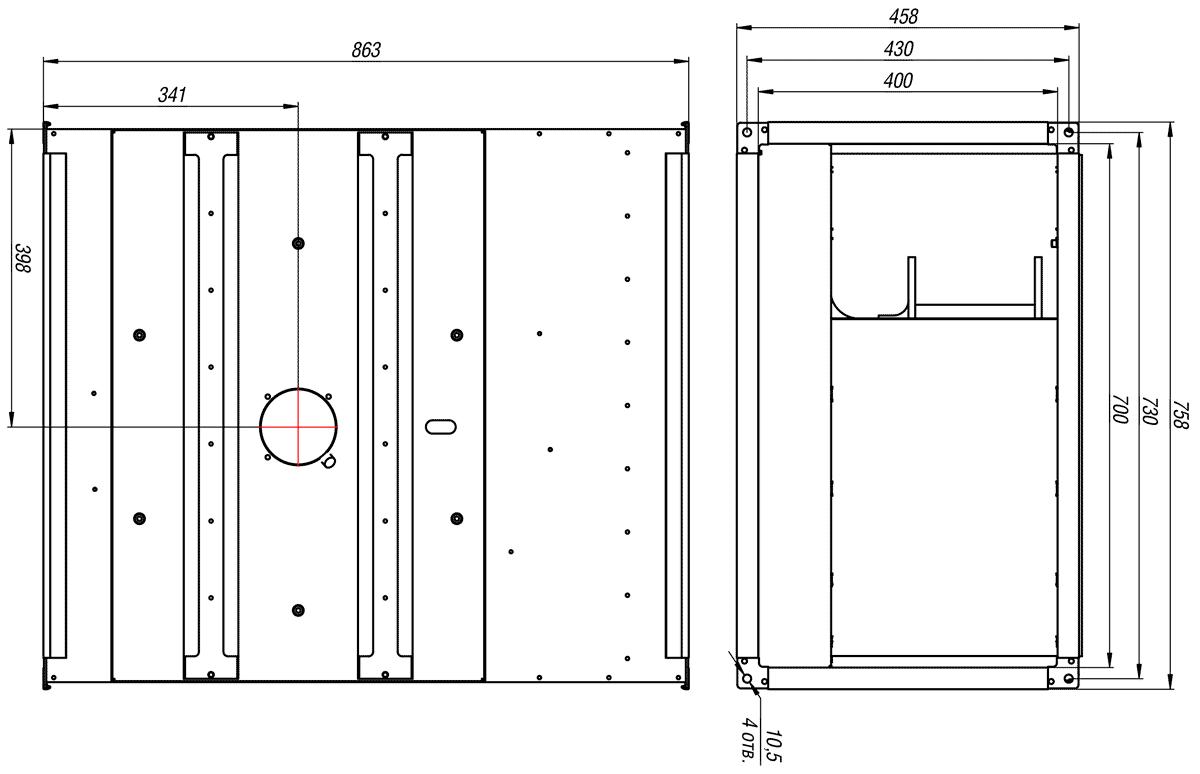 Габаритно-присоединительные размеры канального вентилятора ВКП-Б 70-40-4E 220V