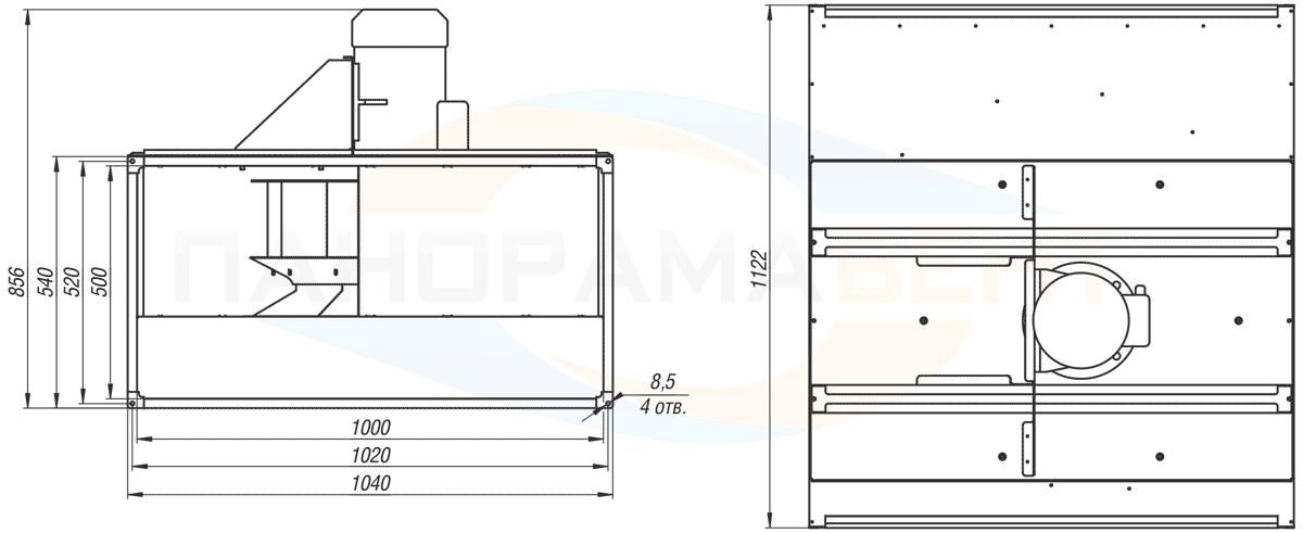 Габаритно-присоединительные размеры канального вентилятора ВКПН 100-50-4D-5.6 380V