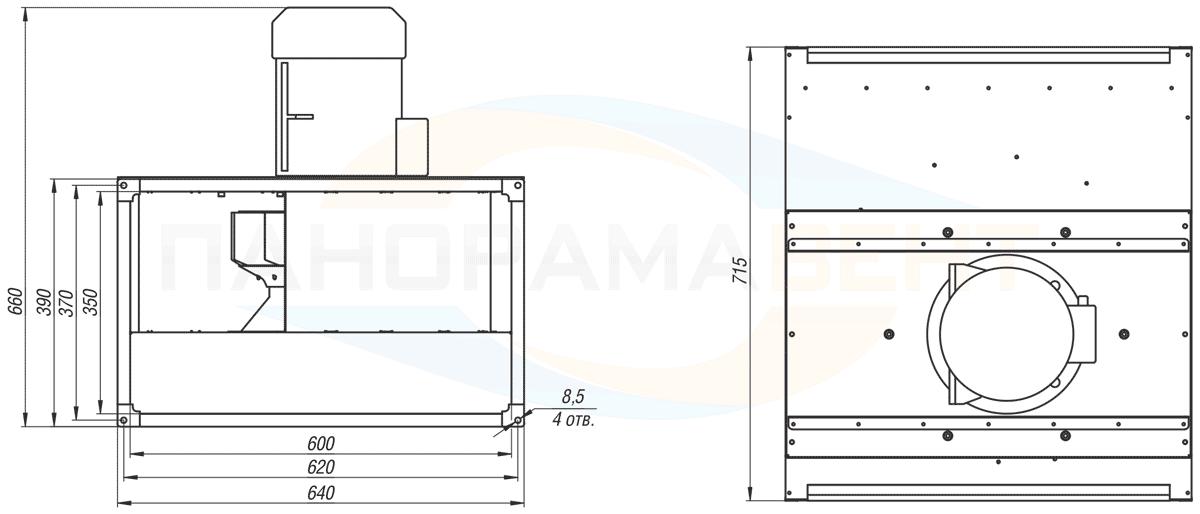 Габаритно-присоединительные размеры канального вентилятора ВКПН 60-35-2D-3.55 380V