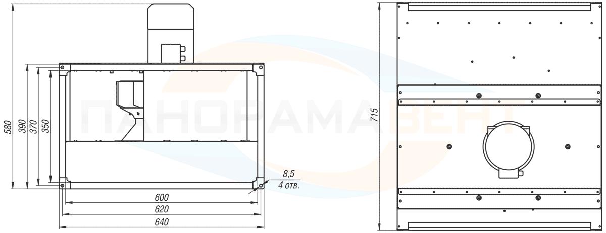 Габаритно-присоединительные размеры канального вентилятора ВКПН 60-35-4D-3.55 380V