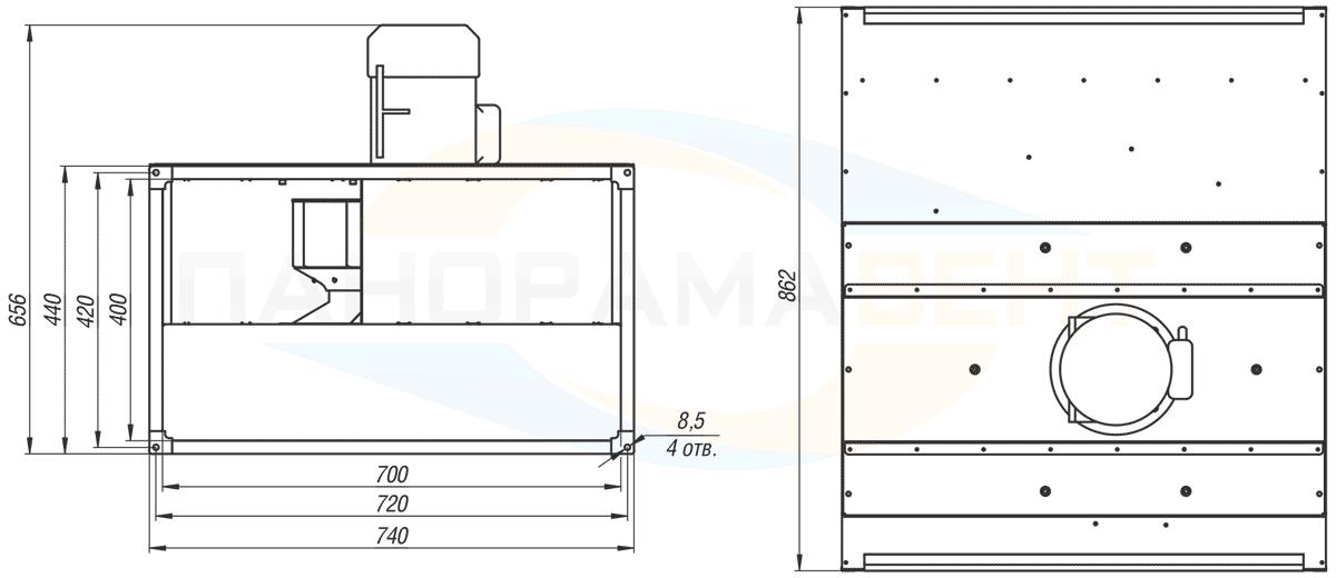 Габаритно-присоединительные размеры канального вентилятора ВКПН 70-40-4D-4 380V