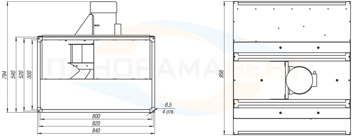 Габаритно-присоединительные размеры канального вентилятора ВКПН 80-50-4D-4.5 380V