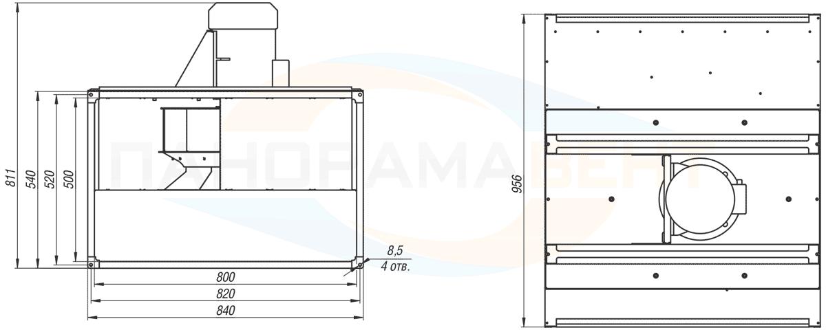 Габаритно-присоединительные размеры канального вентилятора ВКПН 80-50-4D-5 380V