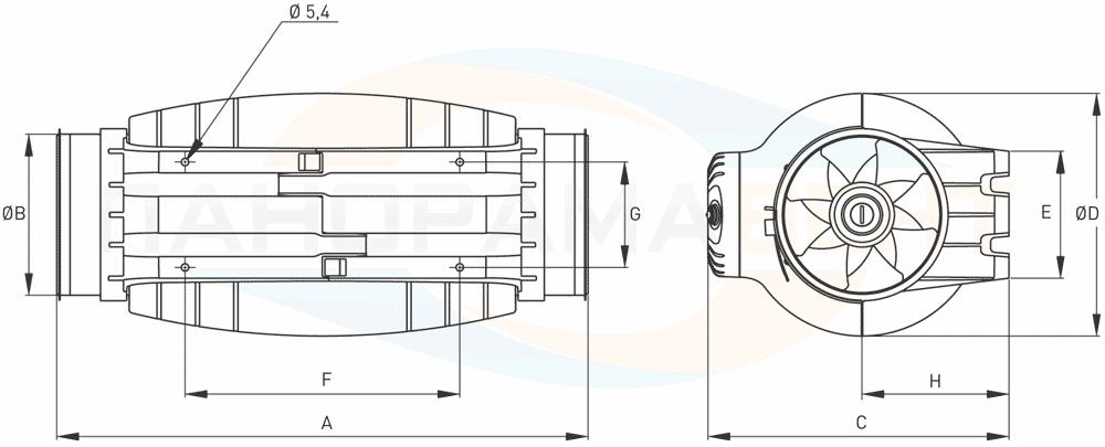 Габаритно-присоединительные размеры бесшумного канального вентилятора TD-Silent TD-500/150-160 3V